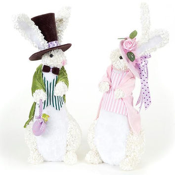 2 Easter Figures - Features Artificial White Hydrangeas