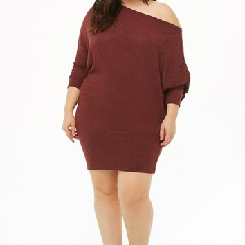 Plus Size Ribbed Off-The-Shoulder Dress