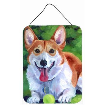 Corgi with green ball Wall or Door Hanging Prints 7296DS1216