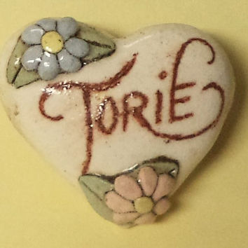 Torie----Vintage Ceramic Heart Name Pin  Brooch Jewlery Accessories Gift Ideas