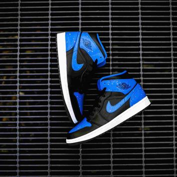 Original Air Jordan 1 Mid (Black/Team Orange-Signal Blue)