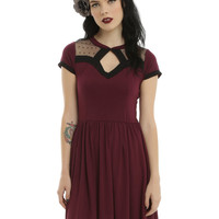 Swiss Dot Mesh Keyhole Skater Dress