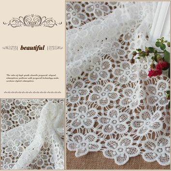 1Yard White Swiss Cotton silk  Voile Fabric,African Floral Silk Lace Fabrics,Sewing Accessories Material Diy Cloth