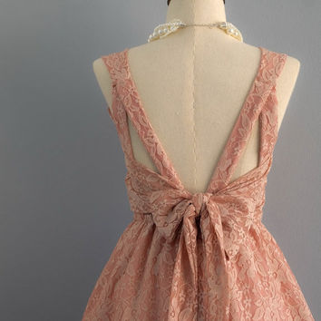 Party V Backless Pale Pink Nude Lace Dress Backless Dress Pink Lace Cocktail Party Dress Prom Dress Pink Nude Lace Bridesmaid Dresses XS-XL