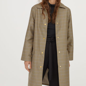 Pattern-weave coat - Beige/Blue checked - Ladies | H&M GB