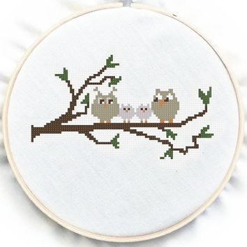 Two Kid Family Owl, Counted Cross Stitch Pattern , PDF cross stitch, No.87, Instructions