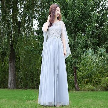 Lace Mesh Patchwork High Waist Cap Women Long Pleated Party Bridesmaid Dress