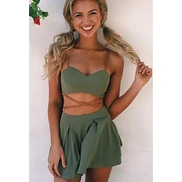 fashion sling short paragraph tops and shorts set