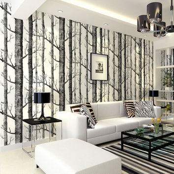 Birch Tree pattern non-woven woods wallpaper roll modern designer wallcovering simple black and white wallpaper for living room