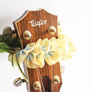 guitar accessories / Ribbon lei for guitar / gold plumeria / music gift / guitar display