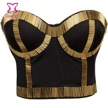 PLUS SIZE BRALETTE BUSTIER CROP TOP PUSH UP BRA SEXY TUBE BEADS STUD BRAS FOR WOMEN BURLESQUE CLUB DANCEWEAR PUNK RAVE BRASSIERE
