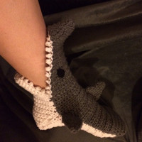 SHARK socks - shark SLIPPERS - shark SOCKS - crochet shark socks - crochet shark slippers - shark week