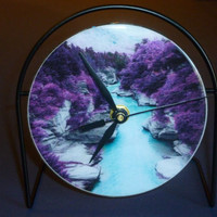 Colorful Canyon River  Recycled CD Clock Art