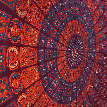 TWIN HIPPIE BEDDING Indian Floral Mandala Tapestry Bedspread Coverlet Sheet, Small Tapestry Wall Hanging, Home Decor Art