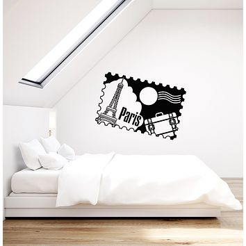 Vinyl Wall Decal Paris Postage Stamp French Art France Girl Room Stickers Mural (ig6014)