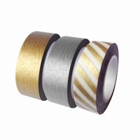 Dress My Cupcake DMC29202 Washi Decorative Tape for Gifts and Favors, Gold/Silver Collection, Set of 3