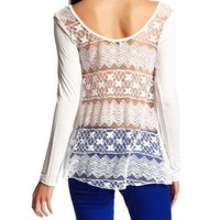 Charlotte Russe - Long-Sleeve Lace Back Top