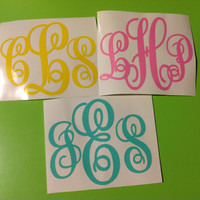 "Triple Letter 3"" Personalized Vinyl Monogram Decal Sticker"