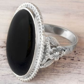 Black jade cocktail ring, 'Black Floral Embrace'