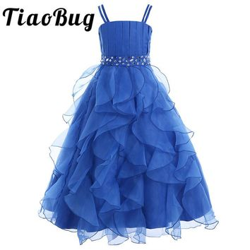 TiaoBug Dark Blue Girls Organza Princess Dress Pageant Wedding Bridesmaid Birthday Party Dress with Flower First Communion Dress