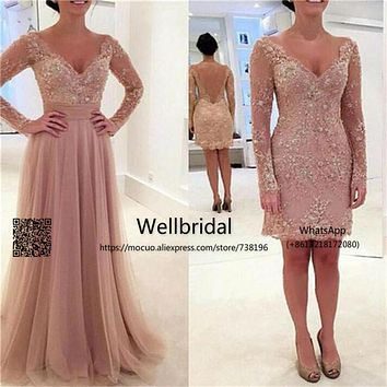 Amazing 2017 Evening Dresses Long with Detachable Train Long Sleeves Lace Beaded vestidos de fiesta Formal Party Evening Dress