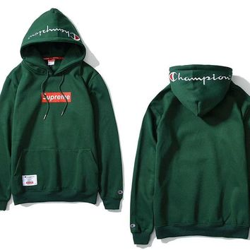 Supreme & Champion 3 Colors Hoodies Embroidery Sweatershirt [429893517348]