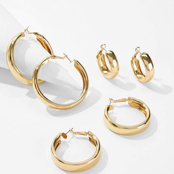 Simple Design Hoop Earrings 3pairs