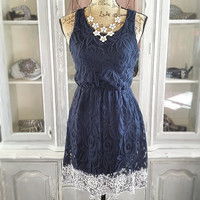 LOVED IN LACE DRESS IN NAVY