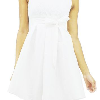 Princess White Floral Lace Sleeveless Self Tie Up A-Line Mini Dress