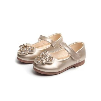 JGVIKOTO Brand New Princess Girls Leather Shoes Soft PU With Rhinestone Small Bow-knot Cute Sweet Kids Flats Children Mary Janes