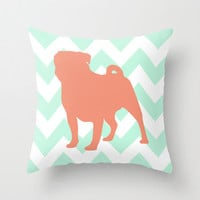 Pug Pillow Cover, Chevron Decorative Throw Pillow in Mint and Coral, Pastel Tones Cushion, Aqua Coral Dog Lover Gift