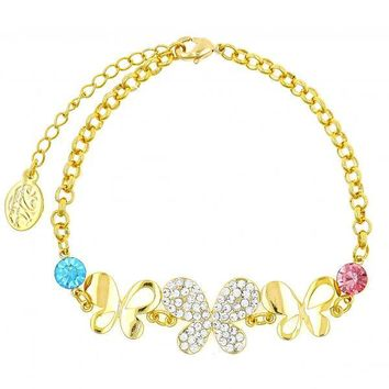 Gold Layered Fancy Bracelet, Butterfly Design, with Crystal, Gold Tone