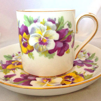 Crown Staffordshire English Fine Bone China Violet Vintage Demitasse Cup & Saucer Set - white purple and yellow violets - floral - flowers