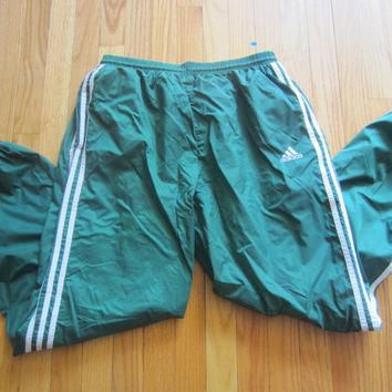 Vintage Adidas Windpants Windbreaker Pants Track 3 Stripe Green