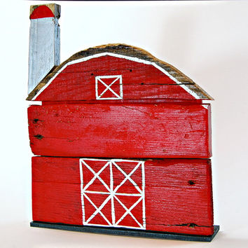 Woodwork Hand Painted Red Barn