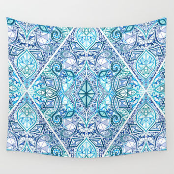 Blue and Teal Diamond Doodle Pattern Wall Tapestry by Micklyn