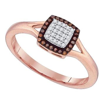 10k Rose Gold Women's Red Diamond Square Cluster Split-shank Ring - FREE Shipping (US/CA)