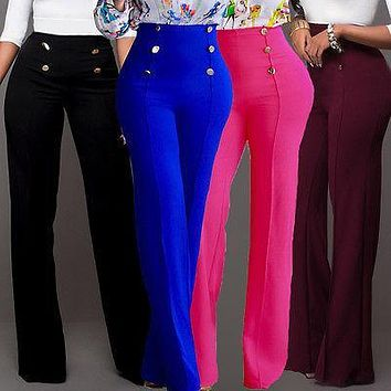 Women Ladies Palazzo Plain Flared Wide Leg Pants leggings Baggy Trousers Size  S-XXL