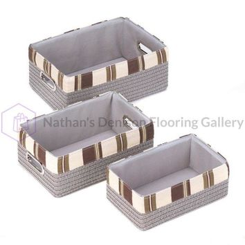 Stacking Grey Striped Basket Set 10015164