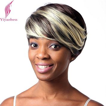 Yiyaobess 25cm Straight African American Short Wigs For Black Women Heat Resistant Synthetic Blond Highlights On Dark Brown Hair