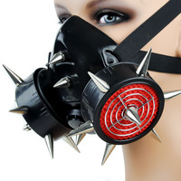 Black Metal Spike Industrial Gas Mask Dual Respirator