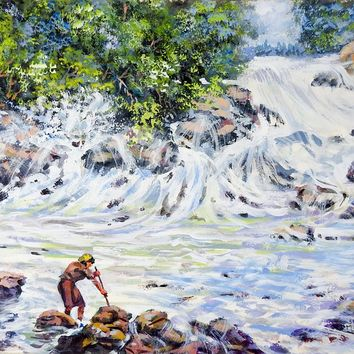 Fishing At Rocky Coast Painting by Simon Michael