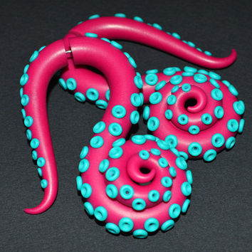 Octopus Tentacles Earrings / Fakers - Faux Gauges and Earrings for Stretched Lobes or Ear Plugs - Gauges, Tentacle Fake Gauges, Fake Plugs