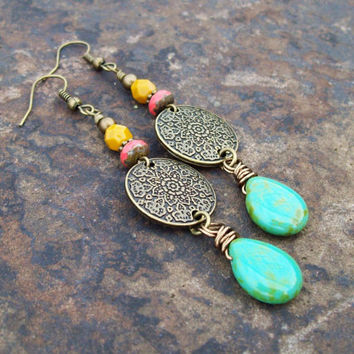 Picasso Turquoise Teardrop with Metal Flower Mandala - Beaded Czech glass Dangle Earrings - Bohemian Hippie
