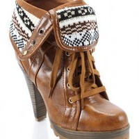 Qupid Revive-10 Cuff Lace Up Ankle Boot