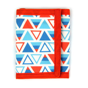 Triangles Fabric Tri Fold Wallet with ID Holder, Credit Card Slots, and Cash Pocket