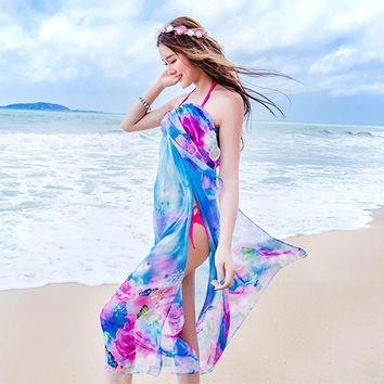 180*150cm 2018 Summer Print Scarf Oversized Chiffon Scarf Women Pareo Beach Cover Up Wrap Sarong Sunscreen Long Cape Female