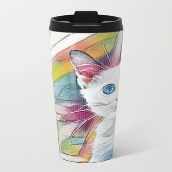 blue eyed cat mugs Metal Travel Mug by Coffee Cup Heaven