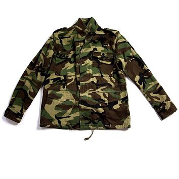 Saint Laurent Medium Green Cotton 2017 Mens Camouflage Military Jacket with Love Patch
