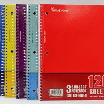 Notebook - 120 sheets - 3 subject - College Ruled - CASE OF 24